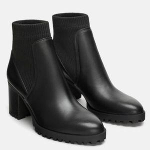 Zara Sock Style Heeled Ankle Platform Booties